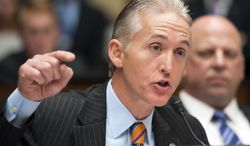 ** FILE ** In this May 8, 2013, file photo, Rep. Trey Gowdy, R-S.C., questions a witness during the House Oversight and Government Reform Committee's hearing on Benghazi on Capitol Hill in Washington. (AP Photo/Cliff Owen, File)