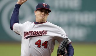 Minnesota Twins starting pitcher Kyle Gibson delivers against the Cleveland Indians in the first inning of a baseball game Monday, May 5, 2014, in Cleveland. (AP Photo/Mark Duncan)