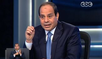 "In this image made from video broadcast on Egypt's State Television, Egypt's retired Field Marshal Abdel-Fattah el-Sissi listens to a question during an interview in a nationally televised program in Cairo, Egypt, Monday, May 5, 2014. Former army chief Abdel-Fattah el-Sissi said that he decided to run for president of Egypt because of the ""threats"" facing the country, speaking in the first TV interview of his campaign. (AP Photo/Egypt's State Television)"
