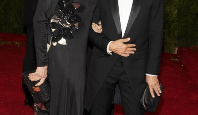 "Jessica Lange and Marc Jacobs attend The Metropolitan Museum of Art's Costume Institute benefit gala celebrating ""Charles James: Beyond Fashion"" on Monday, May 5, 2014, in New York. (Photo by Charles Sykes/Invision/AP)"