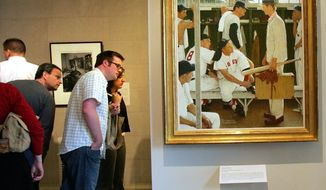 "FILE - In this April 26, 2005 file photo, Norman Rockwell's ""The Rookie"" is displayed, at right, during an exhibit of ""Rockwell and the Red Sox"" at the Museum of Fine Arts in Boston. ""The Rookie (Red Sox Locker Room),"" appeared on the cover of the March 2, 1957, issue of the Saturday Evening Post. Christie's is offering it May 22, 2014, with a pre-sale estimate of $20 million to $30 million, which the auction house says represents that highest auction estimate ever for Rockwell. (AP Photo/Chitose Suzuki, File)"