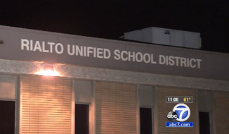 The Rialto Unified School District in Southern California is standing by an eighth-grade writing assignment that asked students to argue whether they believed the Holocaust was fact or fiction. (KABC-TV)