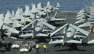 FILE-This file photo taken on Wednesday, Feb. 15, 2012, from the bridge of the Nimitz-class aircraft carrier USS Abraham Lincoln (CVN 72) shows U.S. aircraft  parked on the flight deck  in the Strait of Hormuz. Iran will target American aircraft carriers in the Persian Gulf should a war between the two countries ever break out, the naval chief of Iran's powerful Revolutionary Guard warned Tuesday as the country completes work on a large-scale mock-up of a U.S. carrier. (AP Photo/Hassan Ammar, File)