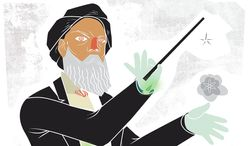 Illustration on Iranian deception and nuclear weapons by Linas Garsys/The Washington Times