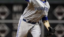 Toronto Blue Jays' Drew Hutchison pitches during the fourth inning of a baseball game against the Philadelphia Phillies, Tuesday, May 6, 2014, in Philadelphia. (AP Photo/Matt Slocum)
