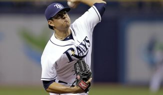 Tampa Bay Rays starting pitcher Cesar Ramos delivers to Baltimore Orioles' Manny Machado during the first inning of a baseball game Wednesday, May 7, 2014, in St. Petersburg, Fla. (AP Photo/Chris O'Meara)