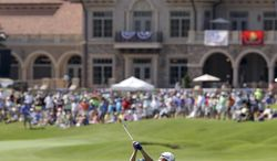 Jonas Blixt, of Sweden, hits from the 18th fairway to the green during a practice round for The Players championship golf tournament at TPC Sawgrass in Ponte Vedra Beach, Fla., Wednesday, May 7, 2014. (AP Photo/John Raoux)