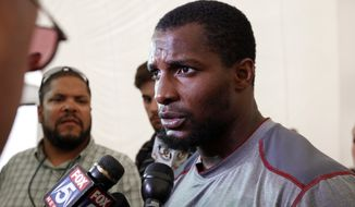 Washington Redskins safety Tanard Jackson speaks during a media availability after an NFL football training camp practice at Redskins Park, Friday, Aug. 3, 2012 in Ashburn, Va. (AP Photo/Alex Brandon)