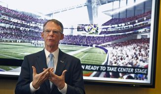 US Bank CEO Richard Davis talks about Minnesota's bid for the 2018 Super Bowl on Wednesday, May 7, 2014 in Minneapolis. Davis co-chairs the bid committee. He says local corporations pledged enough to cover 75 percent of the estimated $30 million to $40 million in costs just within the first seven days of the drive. The co-chairs gave few details about their proposal to NFL owners, saying they don't want to give anything away to Indianapolis and New Orleans, the other cities competing for the game. Organizers will make their presentation to team owners May 20, and will learn that day whether they got the bid. (AP Photo/The Star Tribune, Elizabeth Flores)  MANDATORY CREDIT; ST. PAUL PIONEER PRESS OUT; MAGS OUT; TWIN CITIES TV OUT