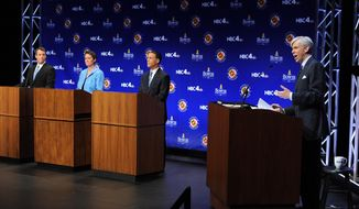 Maryland Democratic gubernatorial candidates, Attorney General Doug Gansler, from left, Rep. Heather Mizeur, D-Montgomery, and Lt. Gov. Anthony Brown take part in a Maryland Democratic primary gubernatorial debate at the University of Maryland in College Park, Md., Wednesday, May 7, 2014. Also pictured at right is moderator David Gregory of NBC News. (AP Photo/The Washington Post, Matt McClain, Pool)