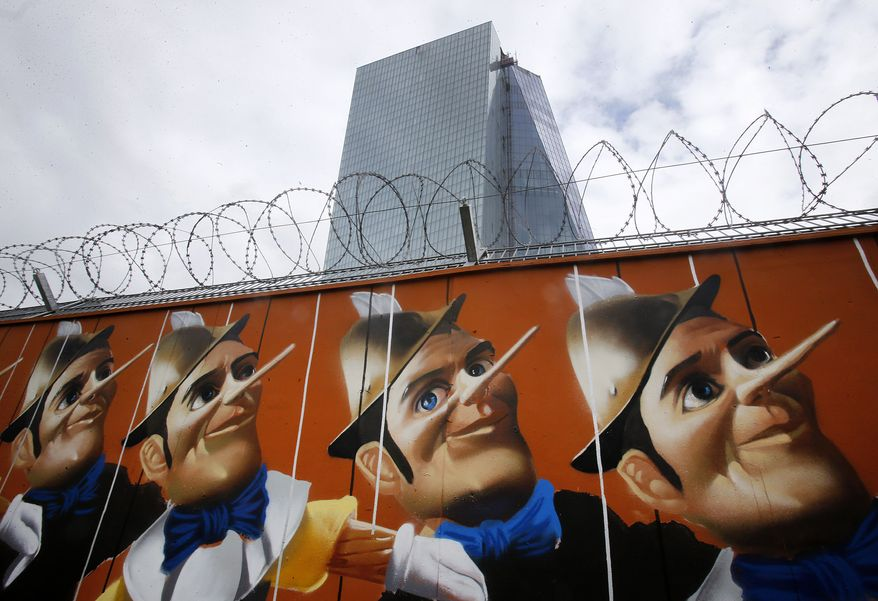 A graffiti is painted on a fence around the construction site of the new headquarters of the European Central Bank in Frankfurt, Germany, Wednesday, May 7, 2014. The ECB is supposed to move into the building by the end of 2014. The Governing Council of the ECB will meet on Thursday.  The graffito was created by German street artist 'Case'. He painted a repetition of 16 Pinocchio's puppets on the wood panels surrounding the construction site of the new headquarters of the European Central Bank. The bank allowed artists to spray graffitis on the fence around the ECB during the construction period. (AP Photo/Michael Probst)