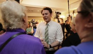 Clay Aiken speaks to supporters during an election night watch party in Holly Springs, N.C., Tuesday, May 6, 2014. Aiken is seeking the Democratic nomination for North Carolina's 2nd Congressional District. (AP Photo/Gerry Broome)