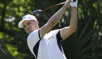 Martin Kaymer of Germany, hits from the fifth tee during the first round of The Players championship golf tournament at TPC Sawgrass, Thursday, May 8, 2014 in Ponte Vedra Beach, Fla. (AP Photo/Lynne Sladky)