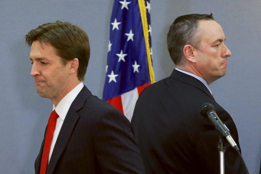 Field of teams: Tea party candidate Ben Sasse (left) and establishment-backed candidate Shane Osborn are opening a new front in Nebraska politics. They are in the middle of a bitter national struggle in the Republican Party between one wing determined to maintain traditional control and insurgents trying to change direction. (Associated Press photographs)