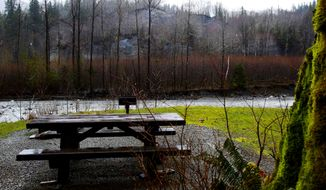 This March 28, 2014 photo shows the Gold Basin Campground, the largest in the Mount Baker-Snoqualmie National Forest near Verlot, Va.  The campground is at risk of a devastating landslide, sitting at the base of a hill with eerie similarities to the one near Oso that collapsed in March in the same river basin.  (AP Photo/The Seattle Times, Mark Harrison)  SEATTLE OUT; USA TODAY OUT; MAGS OUT; TELEVISION OUT; NO SALES; MANDATORY CREDIT TO BOTH THE SEATTLE TIMES AND THE PHOTOGRAPHER