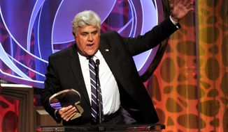 In this Tuesday, March 11, 2014 photo, Hall of Fame inductee Jay Leno speaks on stage at the 2014 Television Academy Hall of Fame at the Beverly Wilshire in Beverly Hills, Calif. In an interview on Thursday, May 8, 2014, Leno says the recent collapse of U.S.-backed Mideast peace talks should make his job just a little easier when he performs in front of Israeli Prime Minister Benjamin Netanyahu later in the month. (Photo by Frank Micelotta/Invision for the Television Academy/AP Images)