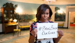 In this Twitter photo, first lady Michelle Obama pleads for the safe return of more than 200 girls kidnapped by terrorists in Nigeria.