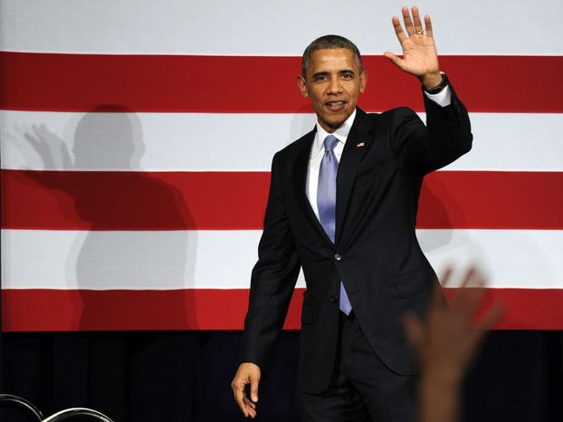 ** FILE ** President Barack Obama waves to the crowd after speaking at a Democratic National Committee reception in San Jose, Calif., Thursday, May 8, 2014. (AP Photo/Susan Walsh)