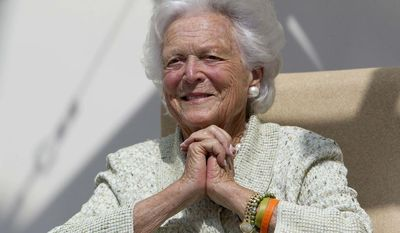 ** FILE ** In this Thursday, Aug. 22, 2013, file photo, former first lady Barbara Bush listens to a patient's question during a visit to the Barbara Bush Children's Hospital at Maine Medical Center in Portland, Maine. (AP Photo/Robert F. Bukaty, File)