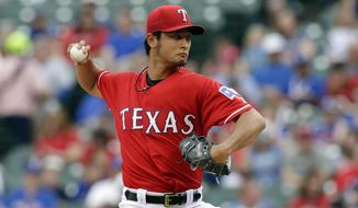 Texas Rangers starting pitcher Yu Darvish, of Japan, works against the Boston Red Sox in the first inning of a baseball game, Friday, May 9, 2014, in Arlington, Texas. (AP Photo/Tony Gutierrez)
