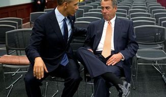 """""""The President talks with House Speaker John Boehner after the President participated in a Q&A with the House Republican Conference at the U.S. Capitol."""" (Official White House Photo by Pete Souza)"""