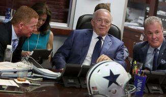 Dallas Cowboys owner and general manager Jerry Jones, center, executive vice president Stephen Jones, right, and head coach Jason Garrett, left, watch the NFL's draft show at the Dallas Cowboys war room at Valley Ranch, Thursday, May 8, 2014, Irving, Texas. (AP Photo/The Dallas Morning News, Brad Loper)  MANDATORY CREDIT; MAGS OUT; TV OUT; INTERNET USE BY AP MEMBERS ONLY; NO SALES
