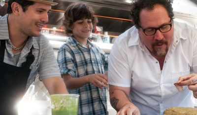 """This image released by Open Road Films shows John Leguizamo, from left, Emjay Anthony and Jon Favreau in a scene from """"Chef."""" (AP Photo/Open Road Films, Merrick Morton)"""
