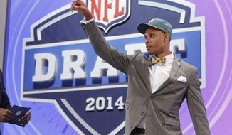 Vanderbilt wide receiver Jordan Matthews reacts to the crowd after being selected as the 42 pick by the Philadelphia Eagles in the second round of the 2014 NFL Draft, Friday, May 9, 2014, in New York. (AP Photo/Jason DeCrow)