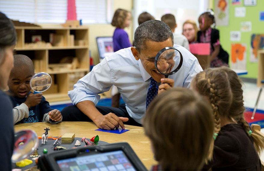 The President visits a pre-kindergarten classroom at the College Heights Early Childhood Learning Center in Decatur, Georgia. (Official White House Photo by Pete Souza)