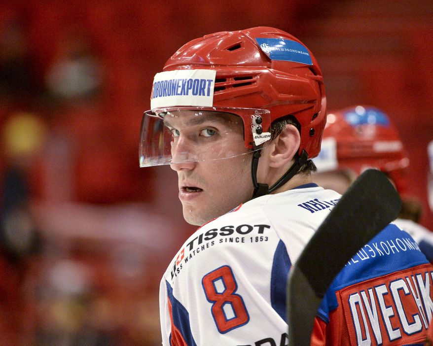 Russia's team captain Alexander Ovechkin, looks on, during the Oddset Hockey Games match between Czech Republic and Russia, at the Globe arena in Stockholm, Sweden, Saturday,  May 3, 2014. Russia won by 5-0. (AP Photo/TT News Agency, Maja Suslin) SWEDEN OUT