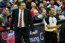 Washington Wizards head coach Randy Wittman shows his frustration on a foul call against the Washington Wizards as they play the Indiana Pacers in game 3 during the second round of the Eastern Conference Semifinal NBA basketball playoffs at the Verizon Center, Washington, D.C., Friday, May 9, 2014. (Andrew Harnik/The Washington Times)