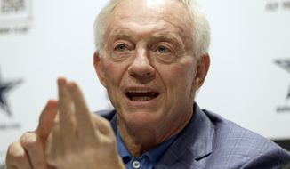 Dallas Cowboys owner Jerry Jones talks about the NFL football draft at Valley Ranch in Irving, Texas, Saturday, May 10, 2014. (AP Photo/LM Otero)