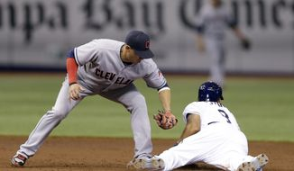 Tampa Bay Rays' Desmond Jennings, right, slides into second base ahead of the tag by Cleveland Indians shortstop Asdrubal Cabrera during the third inning of a baseball game on Saturday, May 10, 2014, in St. Petersburg, Fla. (AP Photo/Chris O'Meara)