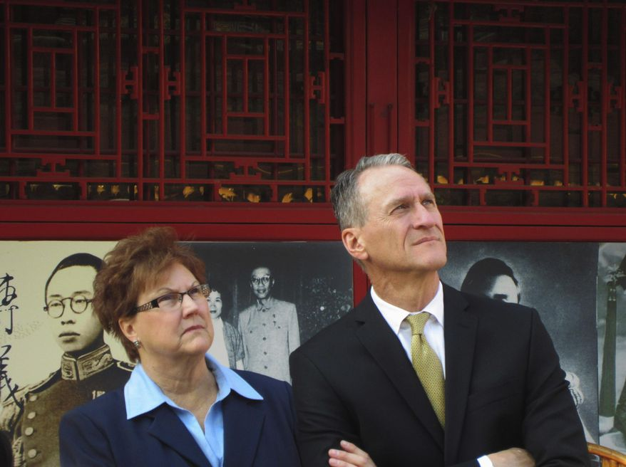 This March 2012 photo provided by Gov. Dennis Daugaard's office shows South Dakota Gov. Dennis Daugaard and his wife, Linda, in China during his first trade mission to the world's most populous nation. Daugaard will be joined by representatives from 11 companies and groups from around South Dakota when he makes his third trade mission to China May 9-16, 2014. (AP Photo/Courtesy of Gov. Dennis Daugaard's Office)