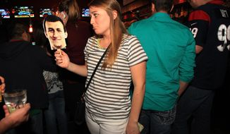 "Taylor Lottmann is upset Johnny Manziel wasn't the Houston Texans first round draft pick during the Tony Buzbee's ""Draft Johnny Manziel"" watch party on NFL Draft night Thursday, May 8, 2014, in Houston. (AP Photo/Houston Chronicle, Mayra Beltran) MANDATORY CREDIT, MAGS OUT, TV OUT"
