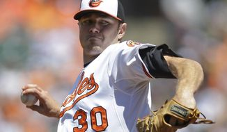 Baltimore Orioles starting pitcher Chris Tillman throws to the Houston Astros in the first inning of a baseball game, Sunday, May 11, 2014, in Baltimore. (AP Photo/Patrick Semansky)