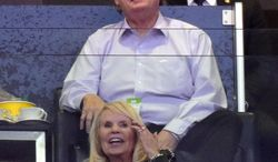 Los Angeles Clippers co-owner Shelly Sterling, below, watches the Clippers play the Oklahoma City Thunder along with her attorney, Pierce O'Donnell, in the first half of Game 3 of the Western Conference semifinal NBA basketball playoff series, Friday, May 9, 2014, in Los Angeles. (AP Photo/Mark J. Terrill)