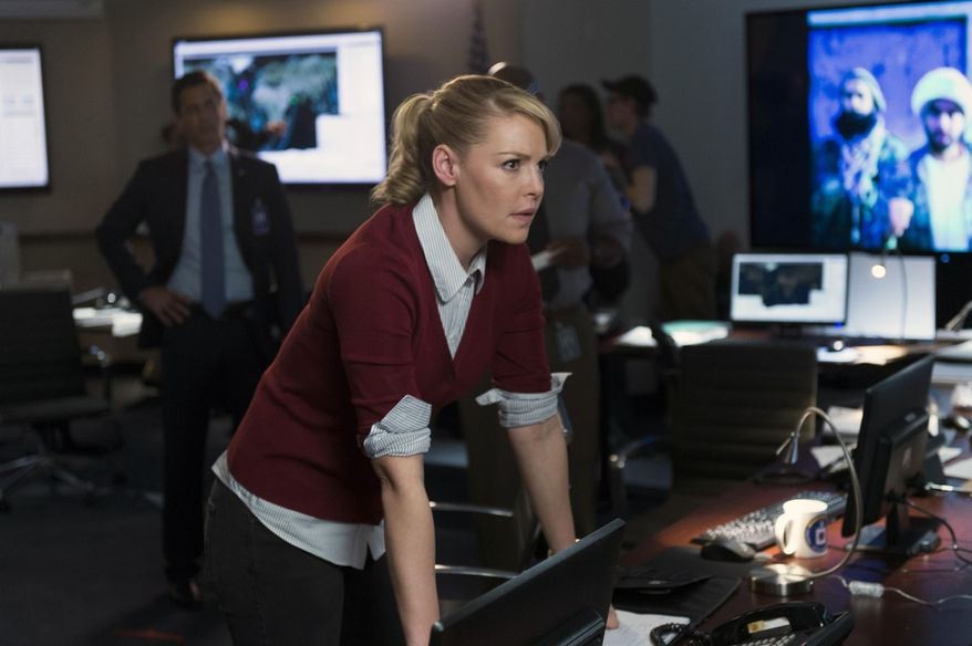 """In this photo provided by NBC, Katherine Heigl portrays CIA agent Charleston Tucker in NBC's new series, """"State of Affairs.""""  (AP Photo/NBC, Michael Parmelee)"""