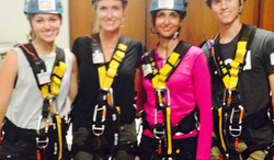 "Louisiana's First Lady, Supriya Jindal, and Korie Robertson of ""Duck Dynasty"" rappelled down a 24-story building in Baton Rouge on Sunday. (Bobby Jindal via Instagram)"