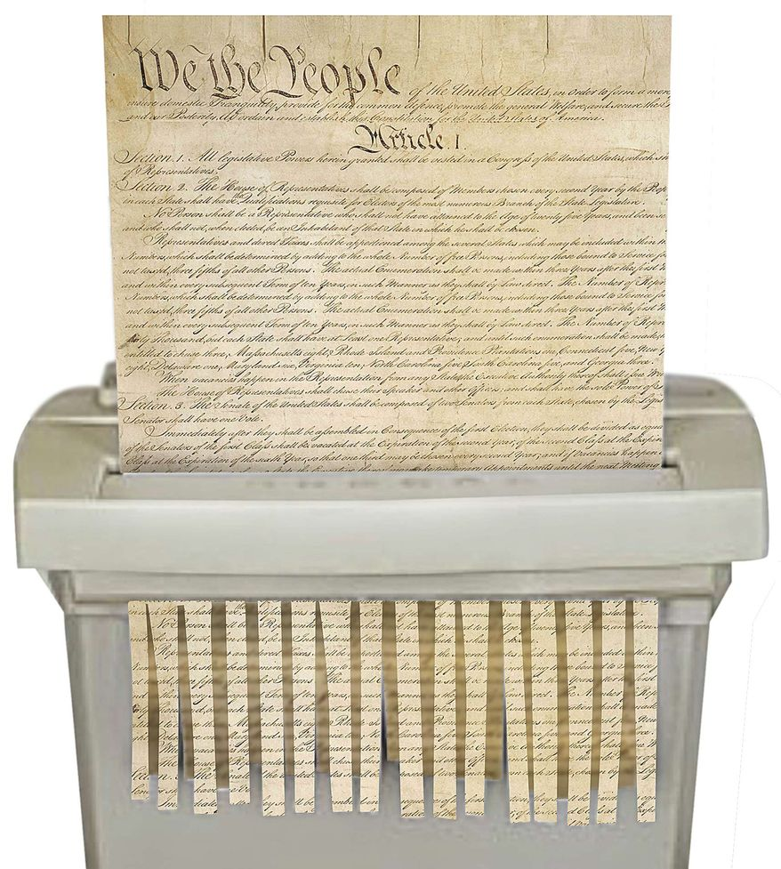 Amendment Shredder Illustration by Linas Garsys/The Washington Times
