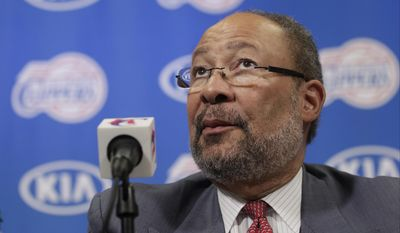 Dick Parsons, the former Citigroup chairman and former Time Warner chairman and CEO, who was named  interim CEO of the Los Angeles Clippers by the NBA league, takes questions during a news conference at the Staples Center in Los Angeles Monday, May 12, 2014. (AP Photo)