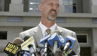 FILE - In this Wednesday, Aug. 29, 2007, file photo, Michael Drewniak, spokesman for the U.S. Attorney's office, speaks to reporters outside the U.S. District courthouse in Newark, N.J. Drewniak, Gov. Chris Christie's long-time press secretary, is set to tell a New Jersey legislative committee what he knew about a political retribution plot carried out by former aides to the governor. Drewniak is the only witness scheduled to testify, Tuesday, May 13, 2014. Two others will appear next month as the committee attempts to determine who ordered the approach lanes of the George Washington Bridge to be blocked without notice last September, and why the mayor whose town is at the base of the heavily traveled span was targeted for payback. (AP Photo/Mike Derer, File)