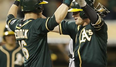 Oakland Athletics' Josh Donaldson, right, and Josh Reddick celebrate after Donaldson hit a two-run home run off Chicago White Sox pitcher John Danks in the fifth inning of a baseball game Monday, May 12, 2014, in Oakland, Calif. (AP Photo/Ben Margot)