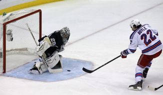 New York Rangers' Brian Boyle (22) fires a shot past Pittsburgh Penguins goalie Marc-Andre Fleury (29) for a goal in the first period of Game 7 of a second-round NHL playoff hockey series, in Pittsburgh on Tuesday, May 13, 2014. (AP Photo)
