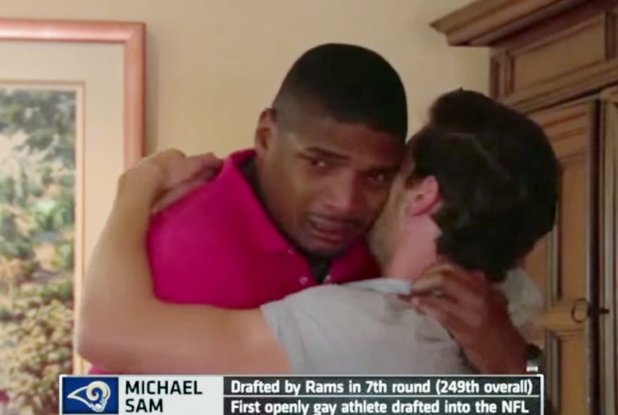 St. Louis Rams select Michael Sam in the 2014 NFL draft. Sam is the first openly gay athlete drafted into the NFL