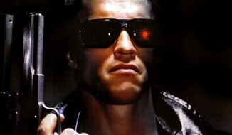 Arnold Schwarzenegger plays a cyborg assassin sent from the future in 'The Terminator.'