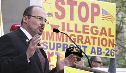 FILE - In this April 4, 2011 file photo is Assemblyman Tim Donnelly, R-Twin Peaks, at a news conference in Sacramento, Calif.  Donnelly and another Republican,  businessman  Neel Kashkari, are challenging Gov. Jerry Brown in his bid to win reelection.  (AP Photo/File)