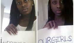 In this undated combination photo made of images provided by Nneka and Chiney Ogwumike, WNBA basketball sisters Nneka, right, and Chiney Ogwumike hold signs in reference to the recent mass kidnappings in Nigeria, their parents' homeland. The pair, who became only the second set of siblings to be drafted first in one of the major sports leagues, have already begun plans to work with the US Fund for UNICEF. They want to maximize their impact and help Nigeria's education and child protection programs. (AP Photo/Nneka and Chiney Ogwumike)