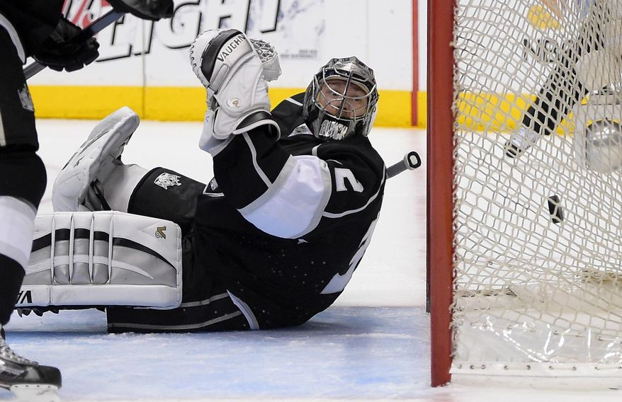 10ThingstoSeeSports - Los Angeles Kings goalie Jonathan Quick is scored on by Anaheim Ducks right wing Devante Smith-Pelly during the first period in Game 4 of an NHL hockey second-round Stanley Cup playoff series, Saturday, May 10, 2014, in Los Angeles. (AP Photo/Mark J. Terrill, File)