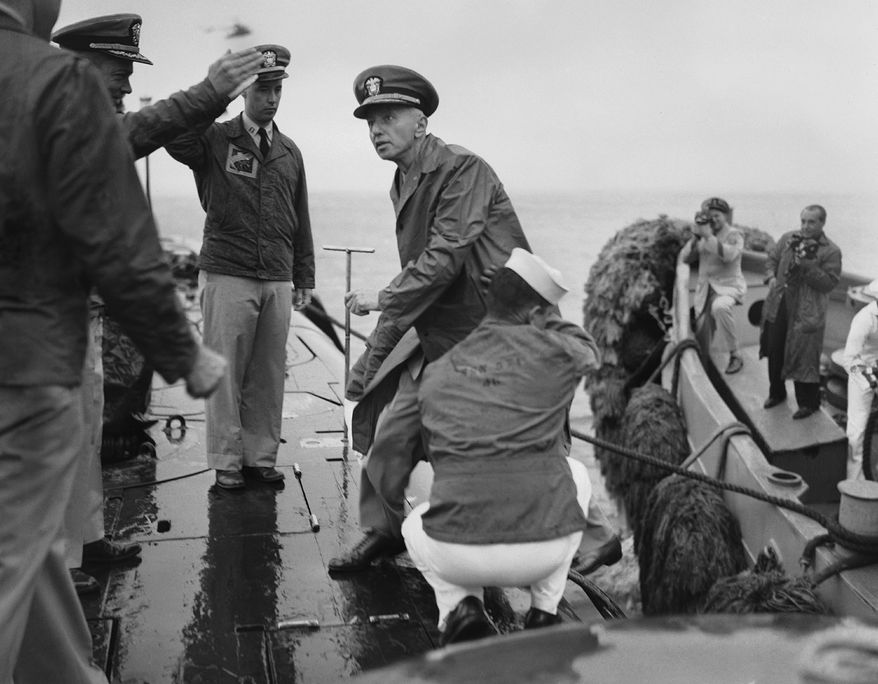 Power Player: Rear Adm. Hyman G. Rickover boarded his creation, the first nuclear submarine, on Aug. 25, 1958. (Associated Press)